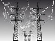 Electric line at thunderstorm Stock Images