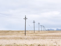Electric line trough a meadow, Iceland Royalty Free Stock Photo