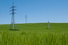 Electric lines. Electric pylons in Slovakia in the Rye stock image