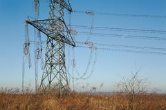 Electric lines collapsed. Broken high voltage electric line ends royalty free stock image