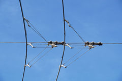 Electric lines necessary for the movement of trolley buses. Stock Photos