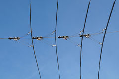 Electric lines necessary for the movement of trolley buses. tram wires Royalty Free Stock Image
