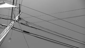 Electric Lines in sky B&W Stock Images