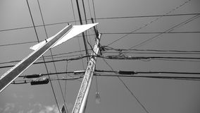 Electric Lines in sky B&W Royalty Free Stock Images