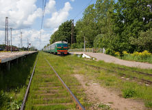 Electric local train at platform in rural areas Stock Images