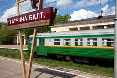 Electric local train at the platform in rural areas Stock Photography