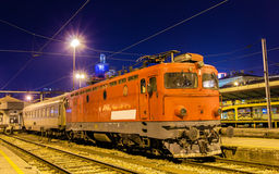 Electric locomotive at Belgrade station Stock Photo