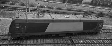 Electric locomotive at Dalian railway station, China. Stock Photo