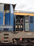 Electric locomotive. Engine of electric locomotive. Blue locomotive Stock Photo