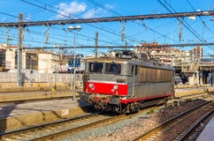 Electric locomotive passing the Montpellier station Stock Images