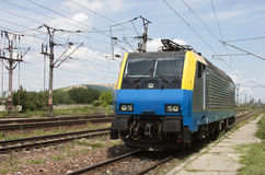 Electric locomotive. In a rail station royalty free stock photography