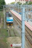 Electric locomotive and railway tracks in Poznan, Poland Royalty Free Stock Images