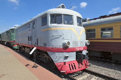 Electric locomotive TE2-125. Moscow, Museum of Railway Transport of the Moscow railway, soviet cargo-passenger diesel-electric locomotive with electric Royalty Free Stock Image