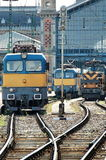 Electric locomotives. Three electric locomotives at the train station royalty free stock images
