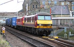 Electric locos freight train West Coast Main Line Stock Photo