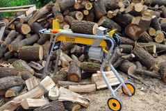 Electric log splitter Royalty Free Stock Image