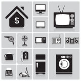Electric Machine And House Icon Set Stock Images