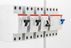 Electric machines, switches,  on white background, closeup Stock Photos