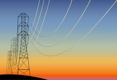 Electric main. Landscape with electrical line at sunset. not traced Royalty Free Stock Photography