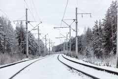 Electric mainline railroad in winter forest Stock Photo