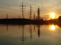 Electric mains. August 2007, Russia, Nizhni Novgorod. Sunset Royalty Free Stock Photo