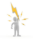 Electric Man. 3D character holding up a lightning bolt Stock Photography