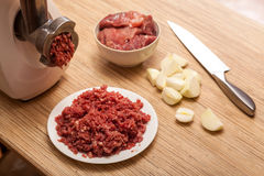 The electric meat grinder, forcemeat, onions and the cut meat Royalty Free Stock Photo