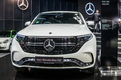 Electric Mercedes-Benz EQC 400 4Matic 300kW SUV, 2019 model year, EQ brand, EV produced by Mercedes Benz stock images