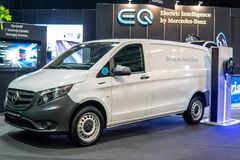 Electric Mercedes eVito, EV produced by Mercedes Benz, Third generation, W447, light commercial vehicle as cargo van, stock photos
