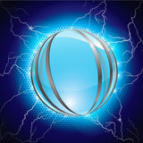 Electric and metal blue sphere Stock Photo