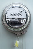 Electric meter. Front view with grey box royalty free stock photography