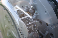 Electric Meter. A shot of the inside of an electric meter.  This works great for a faded backgroud.  Focus is on the gears behind the face of the meter Royalty Free Stock Images