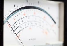 Electric meter. Macro view of analog electric meter dial Stock Photos