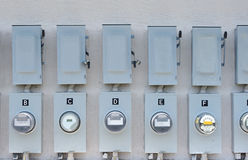 Electric meter. Electric power meters at a business area Royalty Free Stock Images