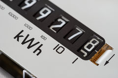Electric meter dial close-up. Electricity meter dial close-up and showing kilowatt hour royalty free stock photography