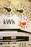 Electric Meter Dials. Close-up of electricity meter dials Royalty Free Stock Images