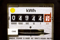 Electric Meter Dials. Close-up of electricity meter dials Stock Images
