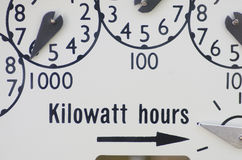 Electric Meter II. Close-up view of dials on an electric meter at residential building stock images