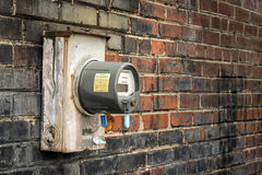Electric Meter On Old Commercial Building Stock Image