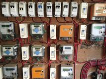 Electric Meter Switching Button Board Panel Stock Photos