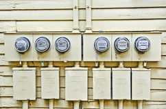 Electric Meters On Old House Stock Photography