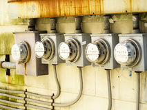 electric meters row Στοκ Φωτογραφία