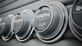 Electric meters in a row Stock Photo