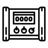 Electric microcontroller icon, outline style royalty free illustration