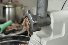 Electric Mincer And Beef Stock Photos