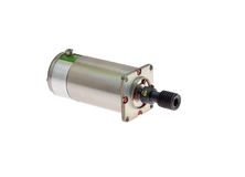 Electric motor. Small electric motor with gear bolted to it on a white background Stock Images