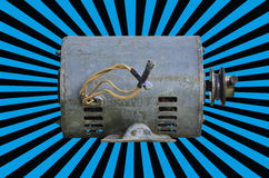 Electric motor. On blue beam background royalty free stock image