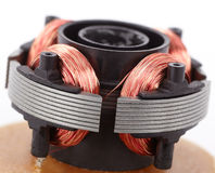 Electric motor on board. Close-up copper coil and magnets Royalty Free Stock Photo