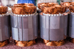 Electric motor copper. Copper wire in a motor, electric magnetic device for rotor royalty free stock photo