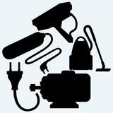 Electric motor, power surge, vacuum cleaner and outdoor surveillance camera Stock Photo